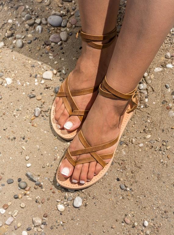 en femmes en Sandales pour Delia cuir grecques antique marron KyaniaCreations XIwq5Z