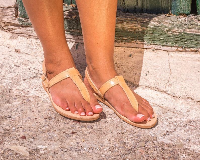 97f71d3f9162f9 Womens leather sandals   Woman summer thongs   Flat greek