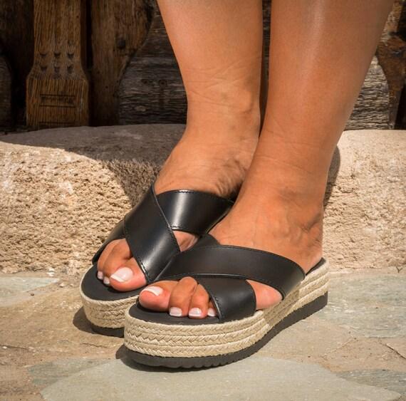 sandales croix en Flatform Sandales sandales grecque cuir compens qnZ8txS