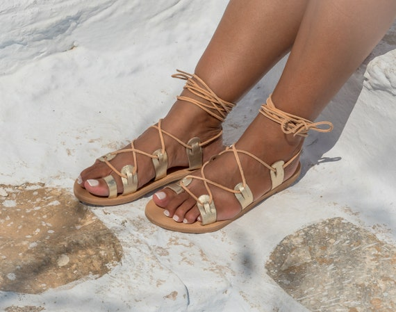Gladiator sandals Women leather sandals Lace up Greek sandals handmade flat summer tie up shoes Chalkia Gold KYANIA