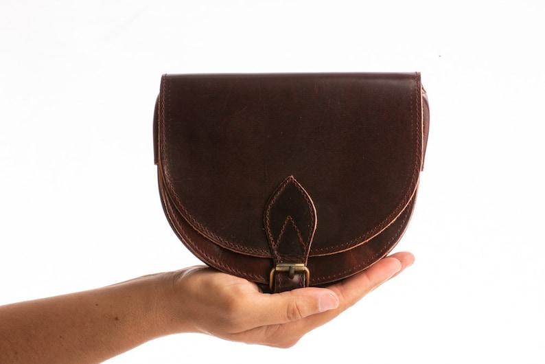 06471d48a60 Mini leather crossbody bag Small brown leather purse Womens dark brown  satchel bag Tan saddle bag Greece handbag - KYANIA