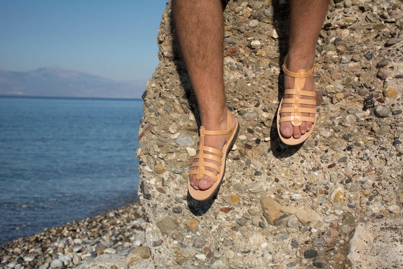 Leather sandals Gladiator sandals Greek sandals Men summer shoes Brown sandals Tan sandals Spartan strappy sandals Roman sandals SIKINIA MEN