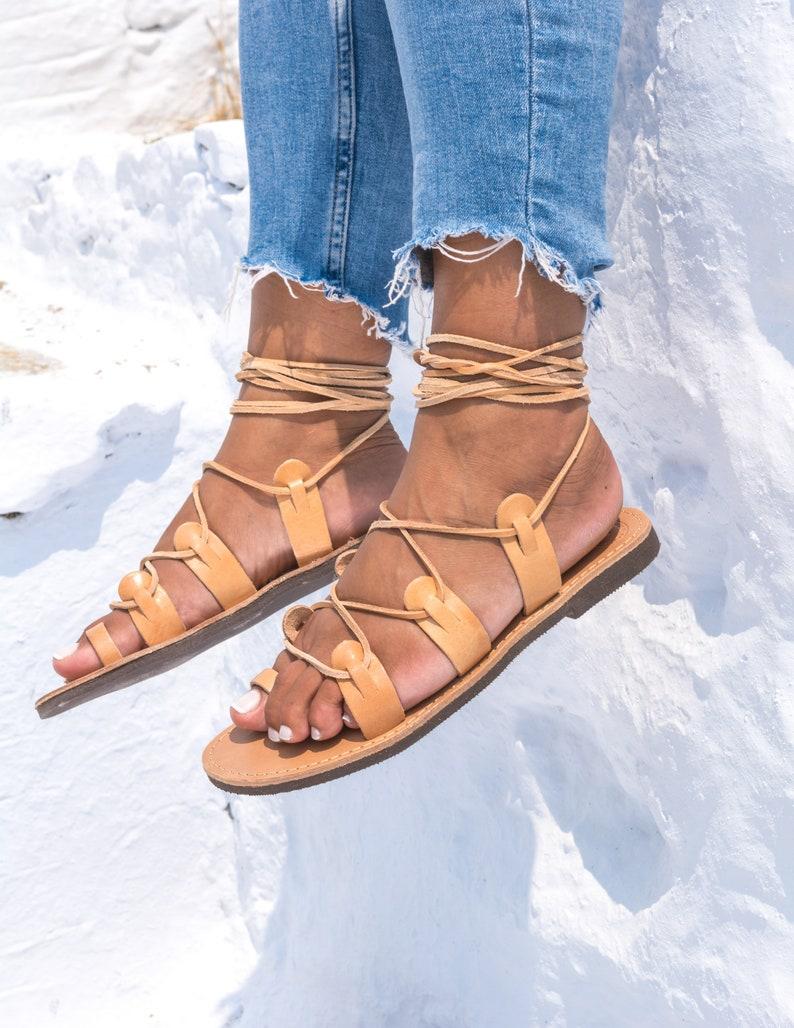 af96e9ad9b91ad Greek leather sandals women Gladiator sandals boho Lace up