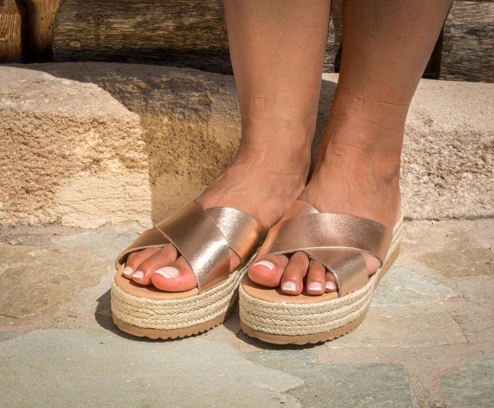 db83be04131 Greek platforms Leather espadrilles Criss cross sandals Greek leather  sandals Greek Sandals Gold platforms - KYANIA - SYMIA gold