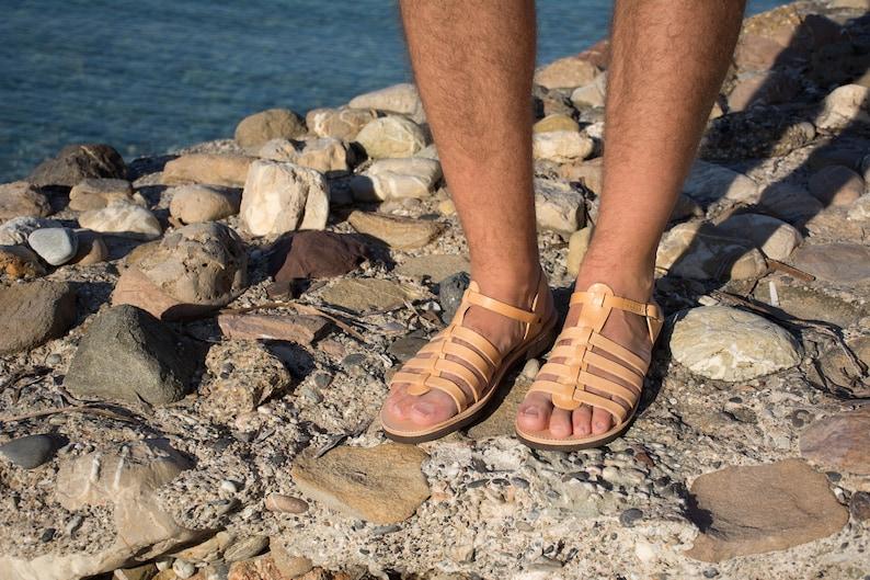 4dee5a9d3605fc Leather sandals Gladiator sandals Greek sandals Men summer