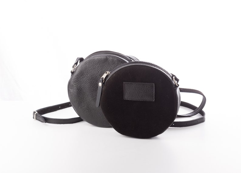 9440df1a2405 Black leather round bag Small Leather crossbody bag womens