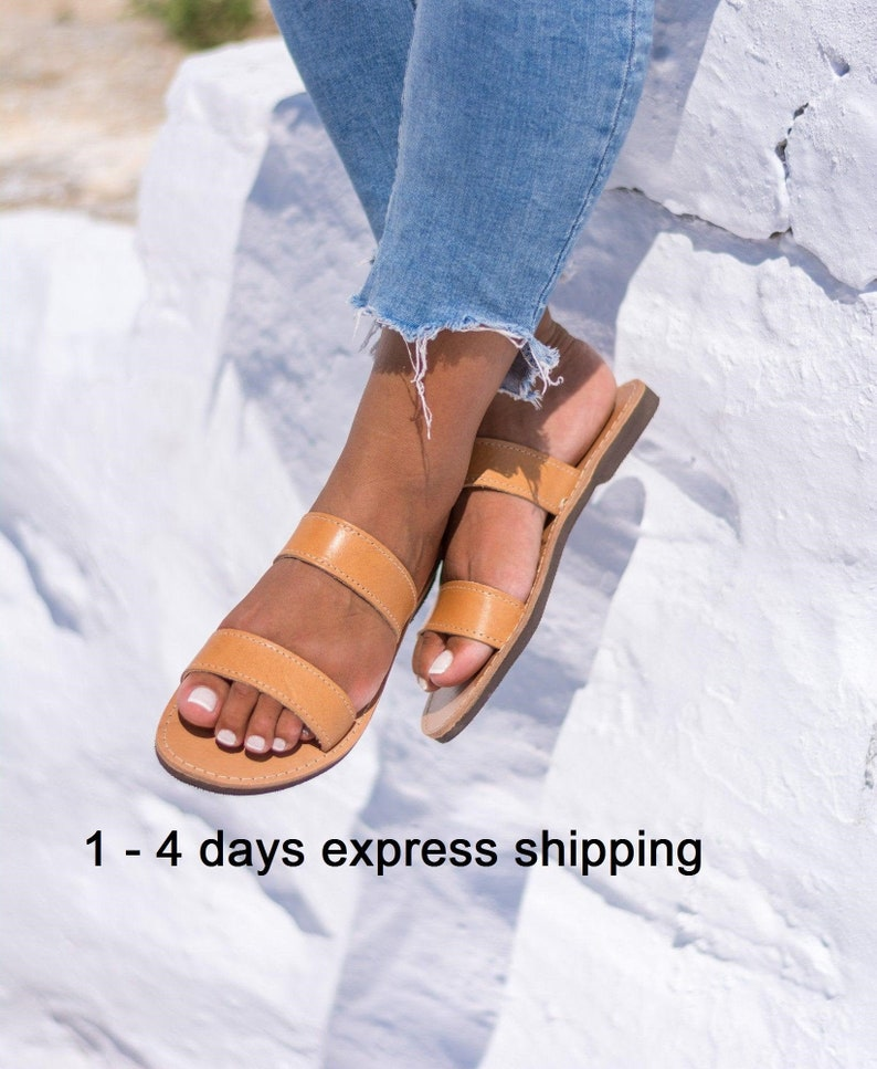 16482f3f3b7cf Minimalist Greek sandals Womens slip on shoes Comfortable Summer flats  Unisex leather sandals - KYANIA - THIRIA women
