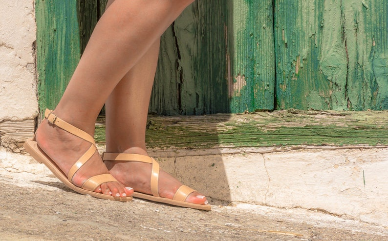 Brown leather sandals Greek leather sandals Strappy handmade summer shoes Gift for her PORIA KYANIA