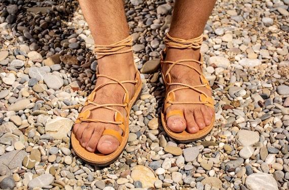 Mens Greek sandals, Gladiator sandals men, Leather sandals men, Handmade roman sandals, Summer tie up flat shoes Chalkia Black KYANIA
