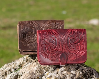 Tooled leather purse Crossbody bags Womens evening leather bag - Wine red / Bordeaux