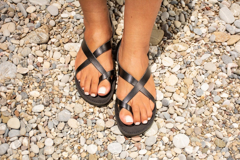 e7e720277c Leather sandals women Criss cross greek sandals toe ring | Etsy