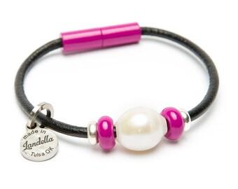 Magenta Leather Magnetic Landella Freshwater Pearl Trio Bracelet