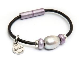 Lavender Haze Leather Magnetic Landella Freshwater Pearl Trio Bracelet