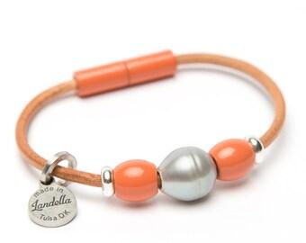 Coral Leather Magnetic Landella Freshwater Pearl Trio Bracelet
