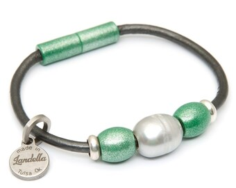 Cosmic Emerald Green Leather Magnetic Landella Freshwater Pearl Trio Bracelet