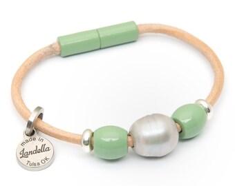 Jade Green Leather Magnetic Landella Freshwater Pearl Trio Bracelet