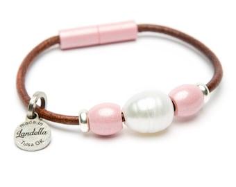 Pretty Pink Leather Magnetic Landella Freshwater Pearl Trio Bracelet