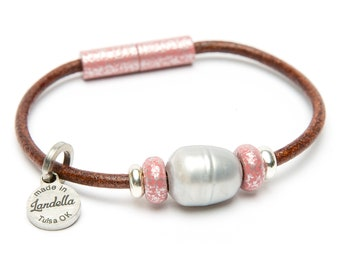 Crinkle Pink Leather Magnetic Landella Freshwater Pearl Trio Bracelet