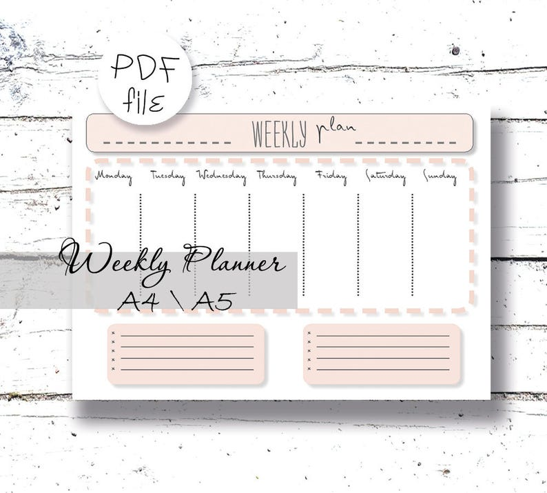 image about Week Planner Pdf identified as Weekly Planner PDF Weekly Method A4 Printable Weekly Day-to-day Printable Instantaneous Electronic Obtain Method of Motion Well prepared 7 days Weekly in the direction of do Checklist