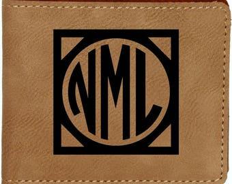Leatherette Bifold Wallet, Engraved Wallet, Monogram Wallet, Monogrammed Wallet, Personalized Wallet, Leather Wallet, Mens Wallet