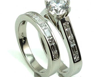 Anniversary Wedding Engagement Ring Platinum CZ Center Stone with 21-Diam Side Stones at 1.51 Cts.