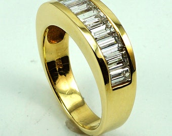 Engagement Band Ring 14K Yellow Gold with 10-Diam Baguette at 2.37 Cts.
