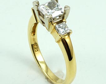 Engagement Ring 18K YG Three-Stone with 2-Diam Side Stones at 0.39 Cts.