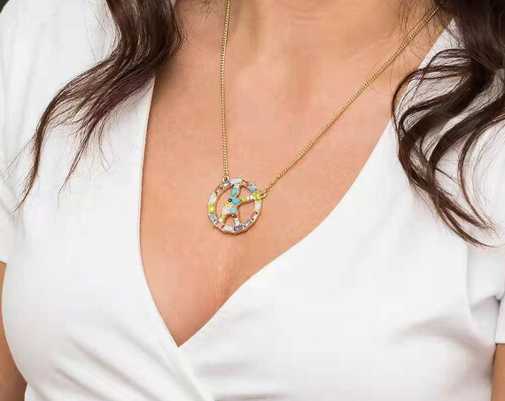 Colorful Rhinestone Inlaid Gold Silver Plated Letter Ring Initial Necklace - 26 Alphabet Monogram Letter Pendant Necklace