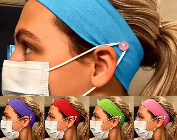Featured listing image: Headband with Buttons for Face Mask Holder - Yoga Sports Workout Turban Headwrap for Doctors Women Men