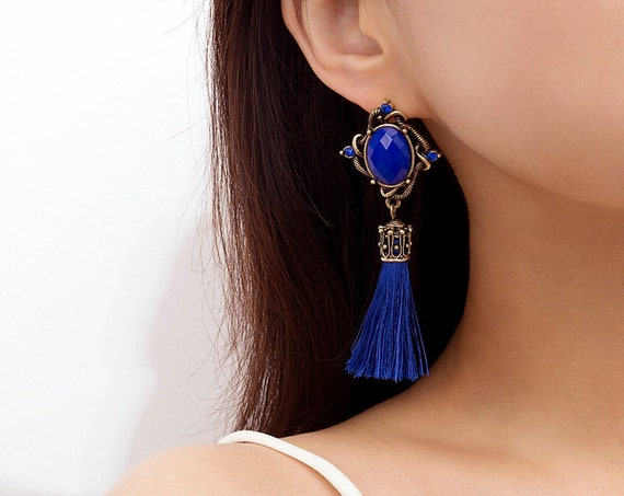 Bohemian Thread Tassel Drop Dangle Earrings - Boho Jade Stone Statement Earrings - Bridal Wedding Fashion Jewelry