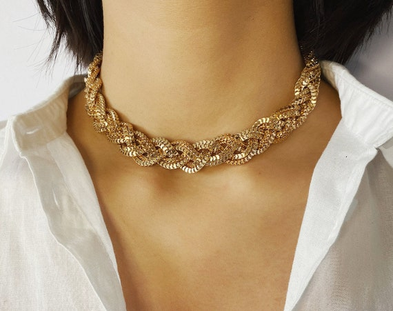 Chunky Gold Tone Twined Rope Chain Choker Necklace