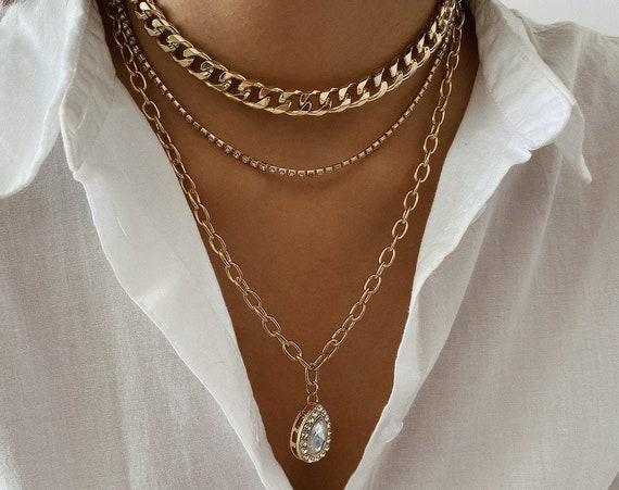Multi-Layer Gold Silver Tone Crystal Inlaid Water Drop Pendant Choker Necklace