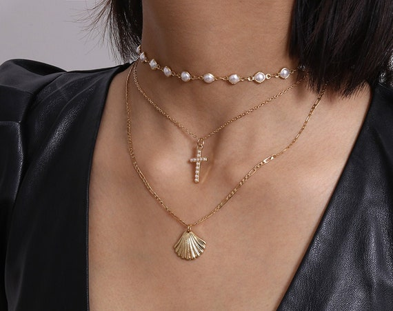 Multi-layer Gold Tone Beaded Pearl Conch & Cross Pendant Choker Necklace