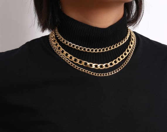 Multi-layer Gold Silver Tone Curb Link Chain Choker Necklace