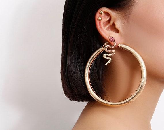 5 Pcs Bohemian Gold Tone Big Ring Snake Pearl Earrings Set