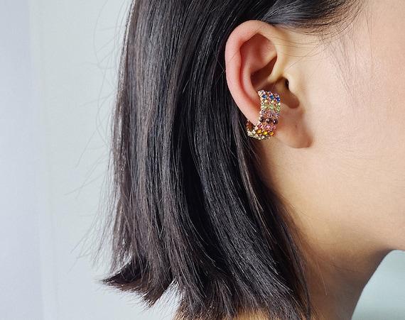 Crystal Inlaid Small Hoop Huggie Earrings Ear Cuffs - Minimalist Non Pierced Ear Cuff Earrings
