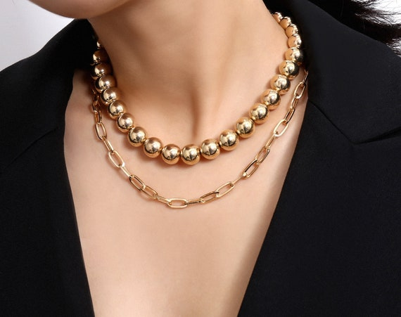 Multi-layer CCB Round Beaded Chain Choker Necklace