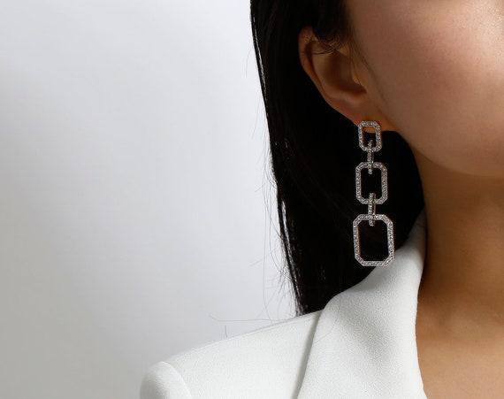 Geometric Gold Silver Tone Crystal Inlaid Triad Dangle Earrings