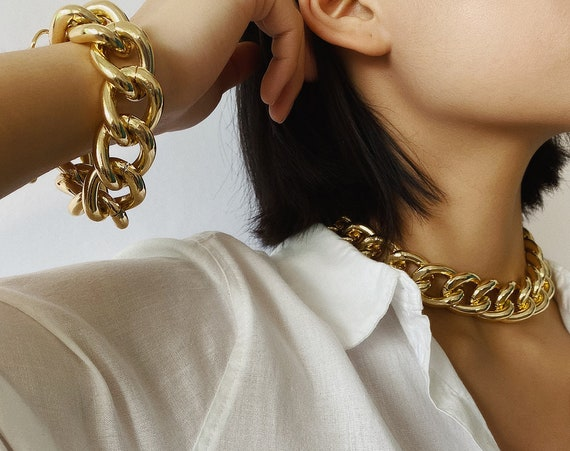 Chunky Gold Tone Curb Link Chain Fashion Jewelry Set