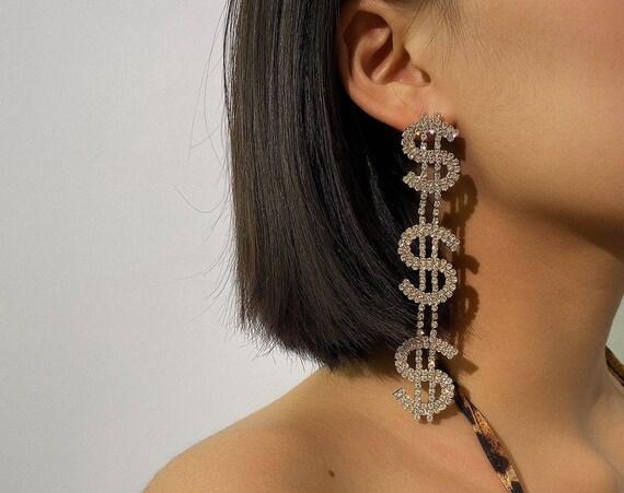 LUX CZ Pave Oversize Dangle Earrings