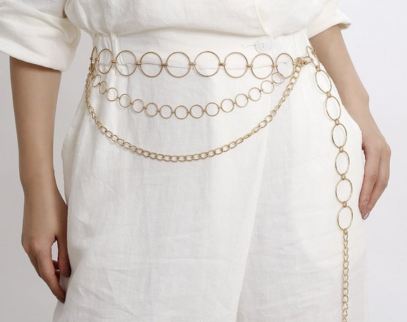 Multi-layer Metal Ring Waist Chain - Gold Silver Tone Sexy Belly Chain - Trendy layered Metal Circle Waist Belt