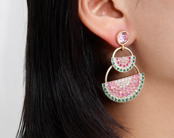 Geometric Crystal Inlaid Dangling Earrings