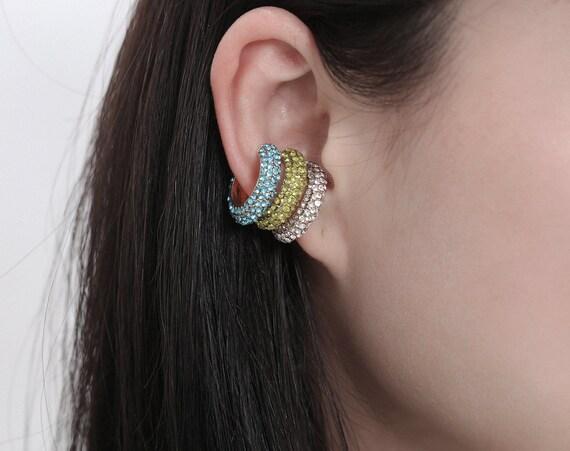 CZ Pave Small Hoop Huggie Earrings Ear Cuffs - Minimalist Non Pierced Cuff Earrings