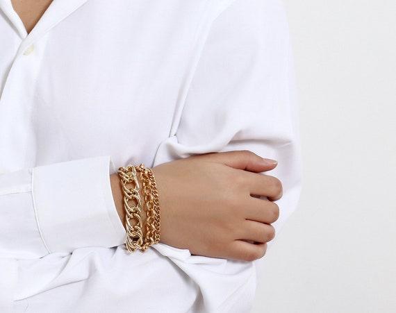 Trendy 3 Pcs Gold Tone Curb Link Chain Bracelet Set