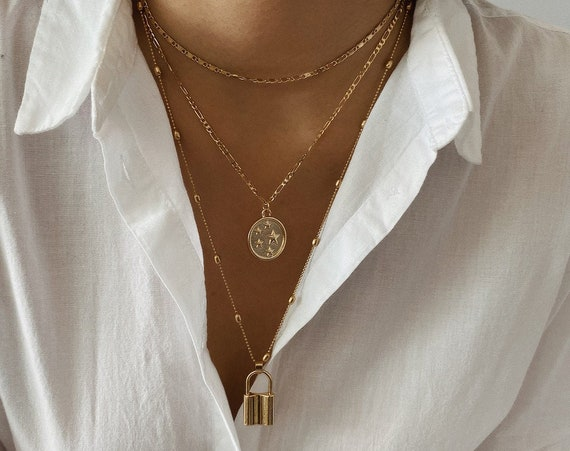 Multi-Layer Gold Silver Tone Lock and Celestial Charm Pendant Choker Necklace