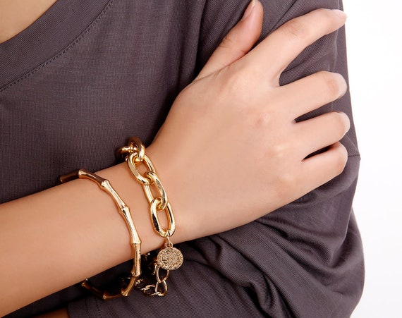 Chic Gold Silver Tone Bamboo Shape & Curb Link Chain Bracelet Set