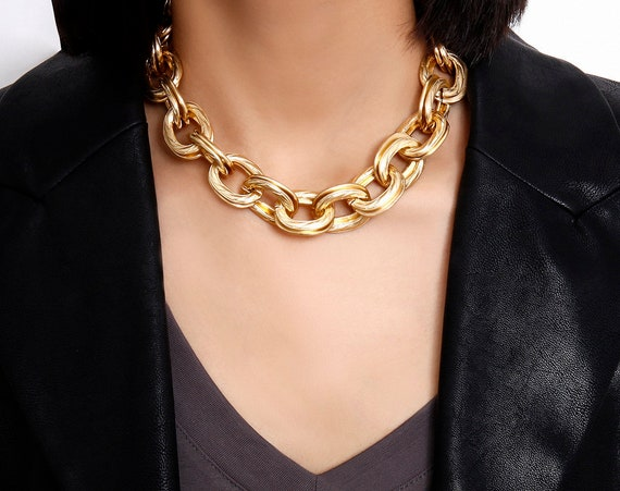 Retro Chunky Gold Chain Choker Necklace - 90s Punk Style Choker Necklace - Costume Chunky Chain Jewelry - Hip Hop Turnover Chain Necklace