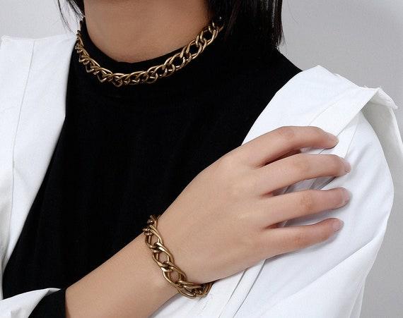 Trendy Gold Tone Metal Chain Choker Necklace & Bracelet Set