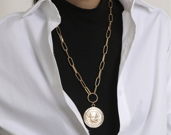 Geometric Gold Silver Tone Relief Round Disk Pendant  Long Chain Necklace
