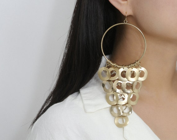 Bohemian Chunky Ring Tassel Dangling Hoop Earrings